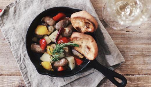 夏のおうちバルに★MCTオイル入りソーセージとジャガイモのアヒージョ